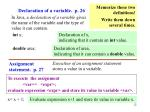 declaration of a variable p 26