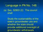 language in pa no 148