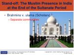 stand off the muslim presence in india at the end of the sultanate period