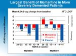 largest benefit of memantine in more severely demented patients