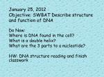january 25 2012 objective swbat describe structure and function of dna