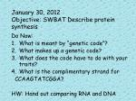 january 30 2012 objective swbat describe protein synthesis