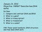 january 31 2012 objective swbat describe how dna works