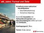 atb sales format und ziele