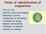 fields of administration of ac u puncture