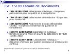 iso 15189 famille de documents