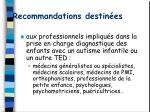 recommandations destin es