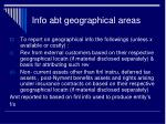 info abt geographical areas