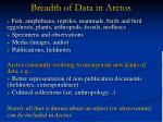 breadth of data in arctos