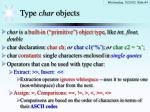type char objects