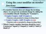using the const modifier on member functions