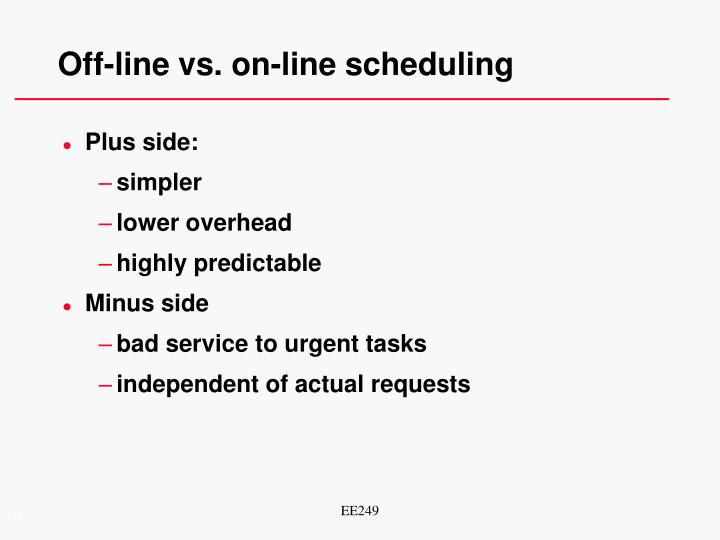 Off-line vs. on-line scheduling