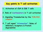 key points in t cell activation