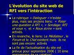 l volution du site web de rfi vers l int raction