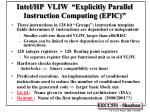 intel hp vliw explicitly parallel instruction computing epic
