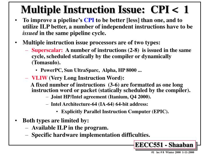 multiple instruction issue cpi 1 n.