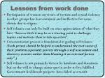 lessons from work done