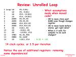 review unrolled loop