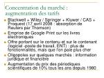 concentration du march augmentation des tarifs