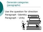 generate categories paragraphs