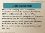 date parameters