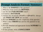 prompt analysis format summary