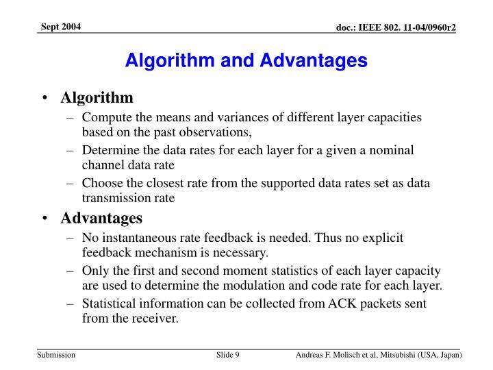 Algorithm and Advantages