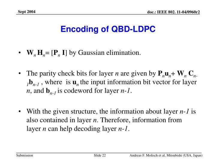Encoding of QBD-LDPC