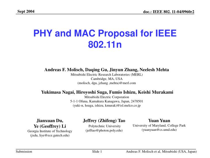 phy and mac proposal for ieee 802 11n n.