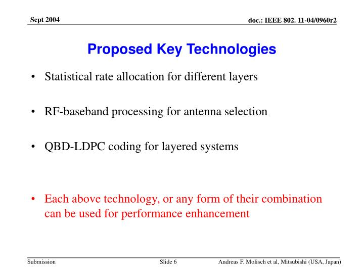 Proposed Key Technologies