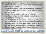 additional dsm iv criteria for adhd