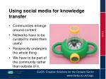 using social media for knowledge transfer