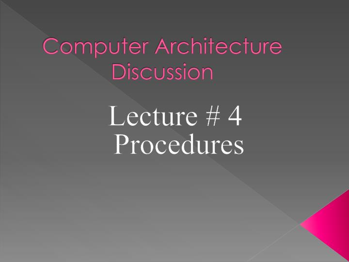 computer architecture discussion n.