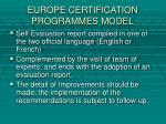 europe certification programmes model