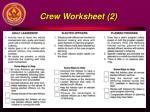 crew worksheet 2