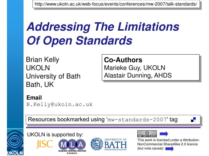 addressing the limitations of open standards n.
