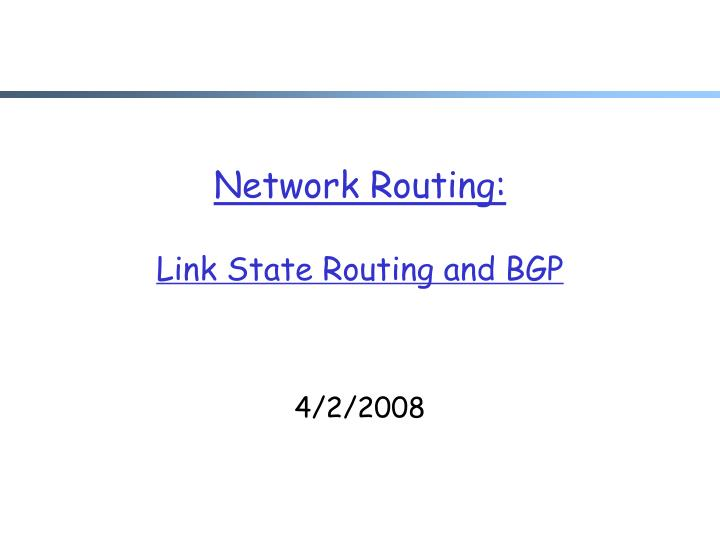 network routing link state routing and bgp n.
