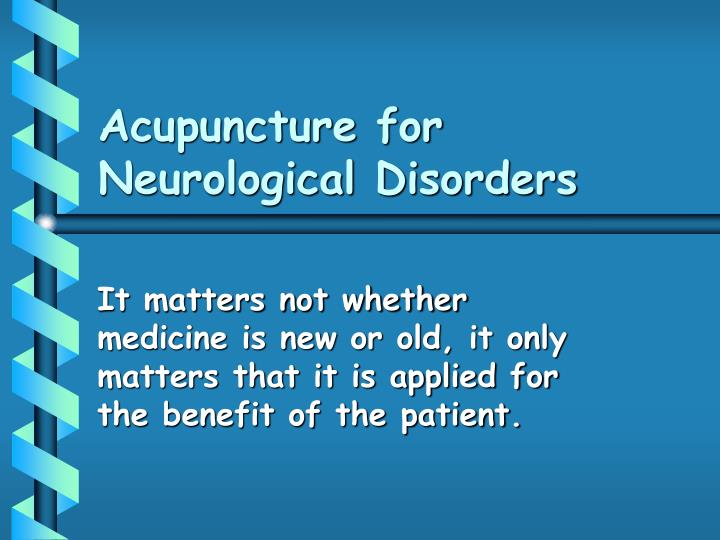 acupuncture for neurological disorders n.