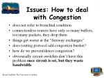 issues how to deal with congestion