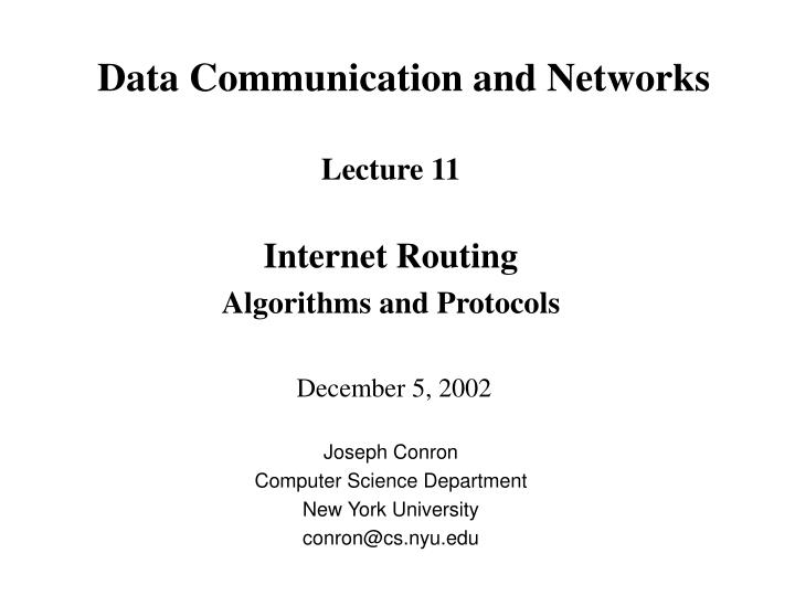 data communication and networks n.