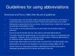 guidelines for using abbreviations