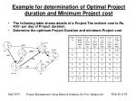 example for determination of optimal project duration and minimum project cost