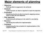 major elements of planning