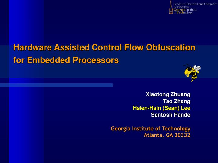hardware assisted control flow obfuscation for embedded processors n.