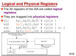 logical and physical registers