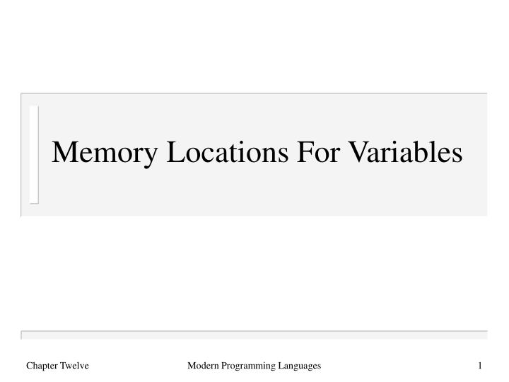 memory locations for variables n.