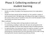 phase 3 collecting evidence of student learning