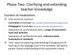 phase two clarifying and extending teacher knowledge
