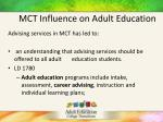 mct influence on adult education