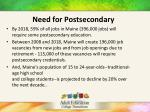 need for postsecondary
